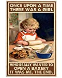 Baking Poster Little Girl is Rolling The Flour Once Upon A Time A Girl Open A Bakery Wall Art Hanging Painting Paper Photography Watercolor Living Classroom Home Decor No Frame