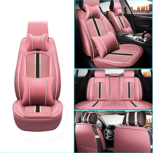 Car Seat Cover for Buick Excelle ExcelleXT ExcelleGT Front+Rear Seats Protector Covers Waterproof Soft PU Leather Cushion 5-Seater Car Pad Stripe Pink 9PCS