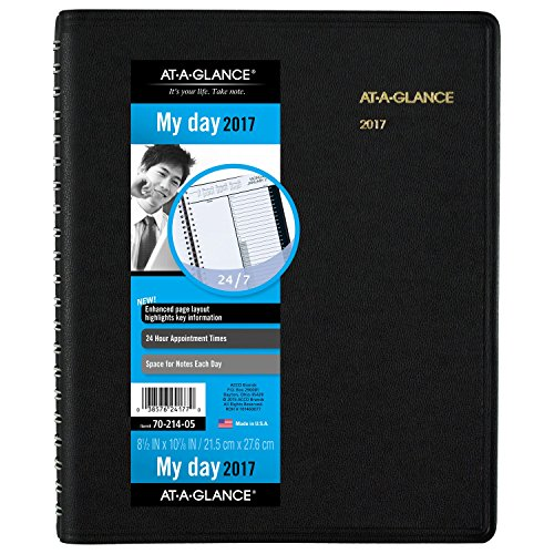 "AT-A-GLANCE Daily Appointment Book / Planner 2017, Wirebound, 24-Hour, 8-1/2 x 10-7/8"", Black (70-214-05)"