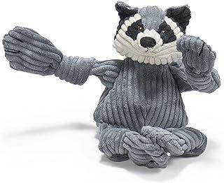 HUGGLE Hounds Plush Corduroy Durable Knotties Raccoon Dog Toy, Mini