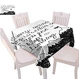 Motivational - Mantel cuadrado para celebración, diseño de montañas bosquejas, letras de estilo de escritura a mano, determinación de éxito, uso diario, 60 x 60 pulgadas, color negro y blanco