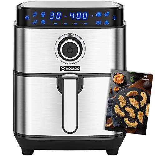 【レシピ付】MOOSOO(モーソー) MA13 ノンフライヤー 4.5L 大容量 家庭用 油を使わない 低カロリー ダイエット ヘルシー タッチパネル タイマー 温度調整(シルバー)