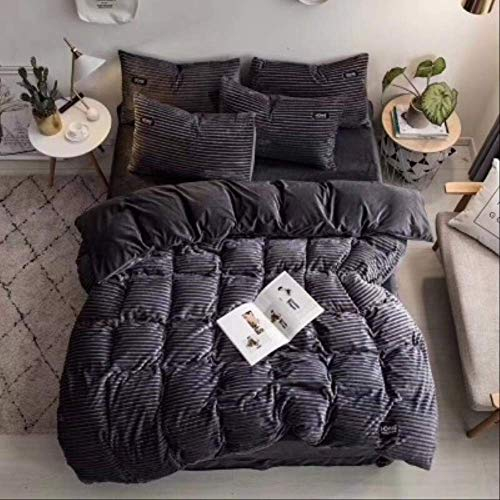 N/D 4pcs Bedding Sets Quilt Cover Bed Sheet Pillow Cover Comforter Thickened Pure Color Double Faced Cover Down Feather Duvet 200x230cm Gray