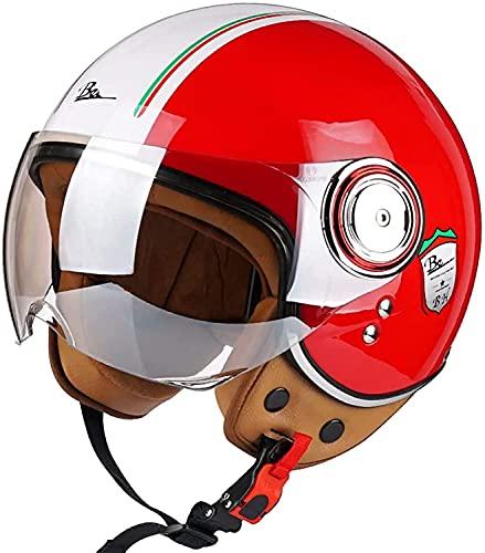 3/4 Casco Moto Hombre - Casco Moto Abierto con Visera - Baratos Scooter Motocicleta Vintage Casco, DOT/ECE Homologado Casco Moto para Mujer Hombre Adultos B,M54-56CM