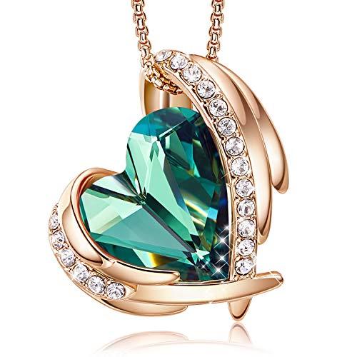 Colliers en or rose pour femmes avec pendentifs cœur embellis avec des cristaux de colliers bijoux cadeau de fête des mères pour femmes filles CDE (Or/Vert)