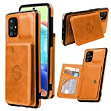 MZELQ Wallet Case for Samsung Galaxy A71 5G 6.7 Inch (2020) with Magnetic Card Holder + Premium Leather Slot Car Mount Shockproof Kickstand Cover Durable Button Full Body Protection Shell-Orange