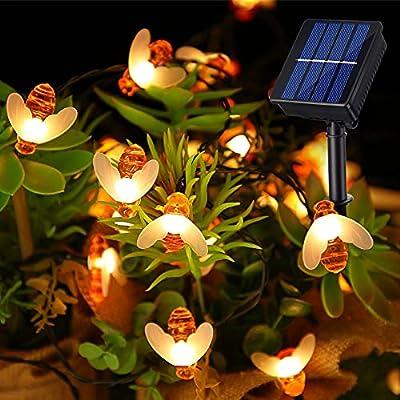 Solar Bee String Lights, 31 Feet 50 LED Waterproof Solar Honeybee Fairy Lights, 8 Lighting Modes for Garden Patio Lawn Balcony Tree Outdoor Landscape Wedding Christmas Party, Warm White