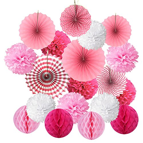 BUYGOO 21pz Fiori di Carta Crespa Fiori di Carta Decorativi Battesimo Bambina Baby Shower Decorazioni Pom Pom Carta Velina a Nido d'Ape Fiori di Carta Decorativi PON PON Carta Velina Decorazione Rosa