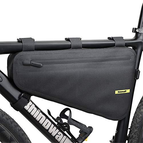 Rhinowalk 4L Bolsas Bicicleta Cuadro,Bolsa Triangular de Bicicleta,Bolsa del Tubo Frontal con Tiras Reflectantes, Bolsa Bici Impermeable para MTB Bicicleta Carretera, Bicicleta Montaña (Negro)