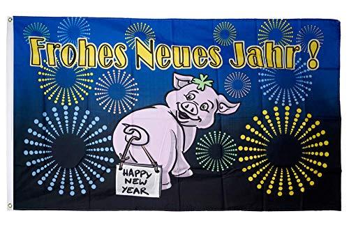 Flaggenfritze® Flagge/Fahne Frohes Neues Jahr Glücksschwein - 90 x 150 cm