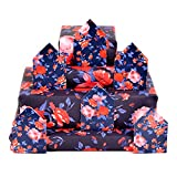 Central 23 - Floral Wrapping Paper - 6 Sheets - Flower Gift Wrap - Red and Blue - Roses - Birthday Anniversary GiftWrap - Recyclable