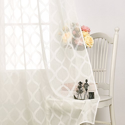 Deconovo Sheer Curtains Moroccan Trellis Design Solid Curtains Jacquard Grommet Curtains for Bedroom 52X84 Inch Off White 2 Panels