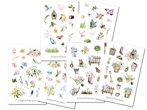 Garten Sticker Set | Aufkleber Bulletjournal | Journal Sticker | Sticker Natur, Zuhause, Pflanzen, Haus, Gärtnern, Blumen, Gemüse, Vögel