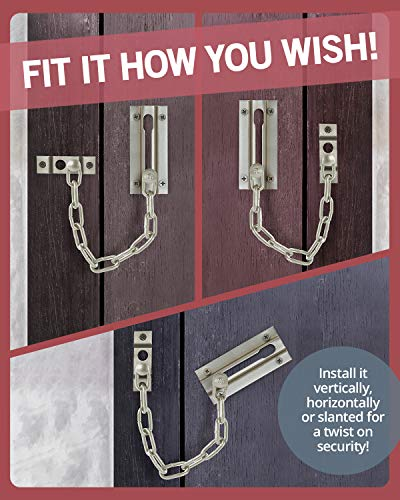 Jack N' Drill Chain Door Guard with Lock - 2 Pack Chain Lock Door Guard, Sturdy and Rust-Resistant Steel Chain Locks for Inside Door and Extra Front Door Lock, 100% Child Safe and Pet Friendly