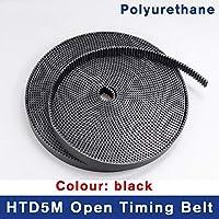 歯付きドライブベルト、 2/5メートルHTD5Mのタイミングベルト、幅15 20 30 40ミリメートルカラーホワイト/ブラックPUポリウレタンスチールコアHTD 5Mオープン同期プーリー (Length : 5M, Size : Black)