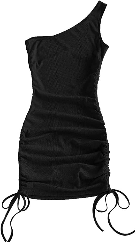 ZAFUL Women's Tie Dye Short Sleeve Cinched Ribbed Knit Mini Bodycon Dress