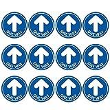 Flechas Adhesivos para Suelo,TAOPE 12 Pack One Way Etiquetas de Piso-Pared de Distancia Social, Pegatinas de Dirección 31CM para Guía de Control de Multitudes Colegio Restaurante Hospital + Raspador