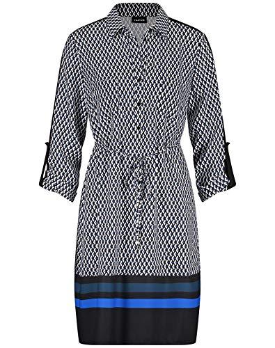 Taifun Damen 480008-11273 Kleid, Mehrfarbig (Cobalt Blue Gemustert 8052), (Herstellergröße: 38)