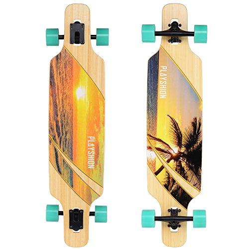 Playshion 39 Inch Drop Through Freestyle Longboard Skateboard Cruiser Sunshine