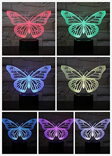 Lámpara de mesa de amor de pareja con patrón de flor de mariposa, lámpara de mesa con animales Usb de cabecera, regalo de Navidad para niños, lámpara de mesa visual, decoración