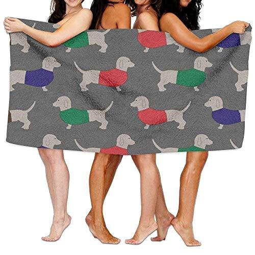 Dachshund Dog Wallpaper Pattern Print Soft Microfiber Towel,Unisex Drawstring Shoulder Backpacks Drawstring Bags Casual Travel Bags Shoulder Pouch Beam Port Backpack Tote Canvas Bag Storage Bag