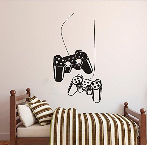 Art Home Decor Gamer Sticker Gamepad Joystick Wall Decal Removable Gaming Room Wall Decoration Gamer Sticker Y-209 (42X70CM, Black)