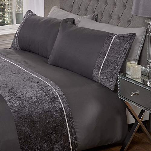 Sienna Luxury Crushed Velvet DIAMANTE Band Duvet Cover with Pillowcase Shimmer Bedding Set, Charcoal Grey - Double