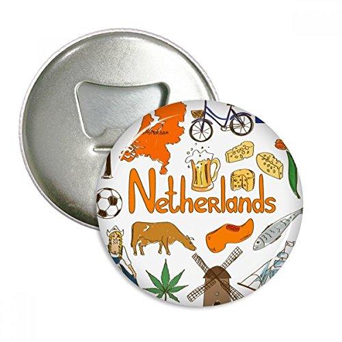 Nederland Landscap Dieren Nationale Vlag Ronde Flesopener Koelkast Magneet Pins Badge Button Gift 3 stks