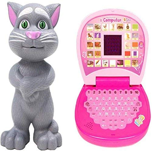 tern educational learning laptop machine vocabulary letter & counting computer tablet & interactive talking tom cat toy for kids speaking repeats what you say- birthday & return gift Multi colors