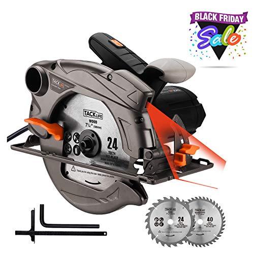 TACKLIFE 1500W 4700 RPM Sega Circolare con Laser, 2 Lame (185 mm), Profondità e Angolo di Taglio Regolabili: 45 mm (45°) - 63 mm (90°), Attacco Aspirazione, Legno, Metallo Morbido e Plastica - PES01A