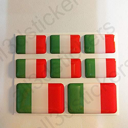 All3DStickers Aufkleber Italien Flagge 8 x Flaggen von Italien Rechteckig 3D Kfz-Aufkleber Gedomt Fahne