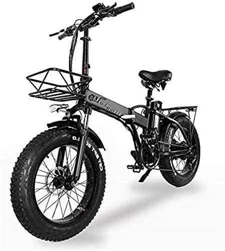 Bicicleta eléctrica de nieve, Bicicletas rápidas y Eléctrica en adultos plegable bicicleta eléctrica 500w 48v 15Ah 20'  4.0 Fat Tire pantalla LCD e-bicicleta con 5 niveles de velocidad Batería de lit