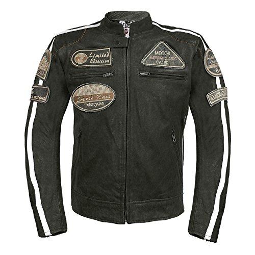 Leder24h Herren Motorrad Lederjacke mit Patches 2075 (L, Schwarz)