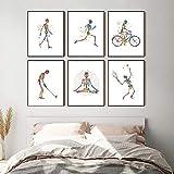 DHLHL Esqueleto en Movimiento Silueta Arte impresión Esqueleto anatomía Caminar Correr Bicicleta Cartel médico Arte de la Pared Lienzo Pintura clínica decoración 30x40cm 12x16 Pulgadas sin Marco