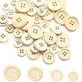 Sweieoni Bottoni in Legno 300 Pezzi Rotondo Bottoni Rotonda in Legno Bottoni Legno Bottoni Naturale Decorativi Bottoni a Pressione per Cucito Decorazioni Artigianali (10mm,15mm, 20mm, 25mm)