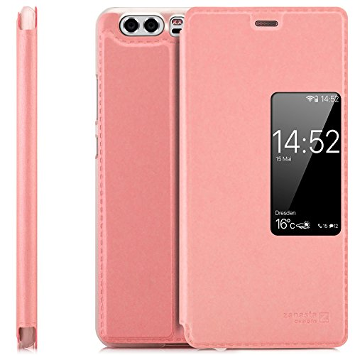 Zanasta Designs Custodia Compatibile con Huawei P10 (VTR-L09) Cover Flip Wallet Case Copertura con Finestra Vista, Protezione della Fotocamera | Rosa