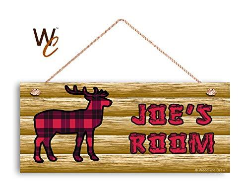 CELYCASY señal de Ciervo de Bosque, Estilo Lodge, Letrero Personalizado, Nombre de niño, señal de Puerta de niños, 6 x 14 Pulgadas, Gran Letrero para Exteriores