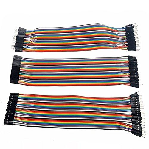 Foxnovo 3pcs 20cm multicolore 40-pin maschio a femmina Male a maschio Female a femmina Breadboard Jumper fili cavi a nastro