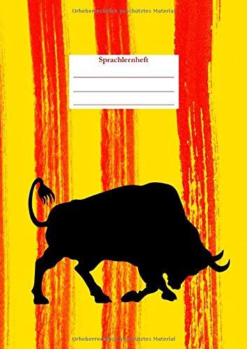 Sprachlernheft: Notizbuch für den Sprachunterricht I liniert mit Vokabelheft I Motiv: Stier I A4
