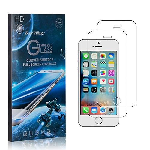 Bear Village® Displayschutzfolie für iPhone 5C, 9H Hart Panzerglasfolie, Anti Kratzen, 99% Transparente Schutzfilm aus Gehärtetem Glas für iPhone 5C, 2 Stück