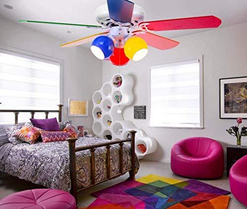 Luz de techo para ventilador de techo para niños Luz de ventilador para sala de niños Luz de ventilador de techo Restaurante Color Comedor Dormitorio Jardín de infantes Luz de ventilador de techo