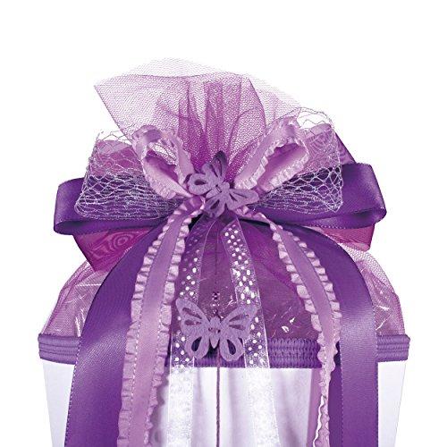 alles-meine.de GmbH große 3-D Schleife - 24 cm breit u. 54 cm lang -  Schmetterling lila violett  - für Geschenke und Schultüten - Geschenkschleife - Geschenkverpackung