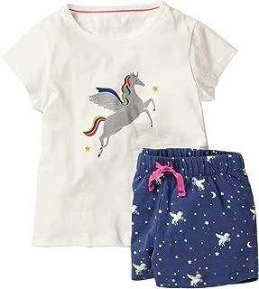 FreeLu Conjunto de Ropa de algodón para niñas, Playera y Pantalones Cortos de Manga Corta de Verano, 2 Paquetes de 1 a 7 niños