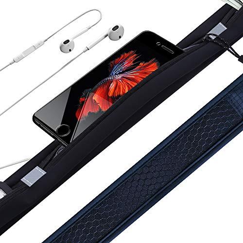ZHIJING Sport Hüfttasche Bauchtasche Gürteltasche schweißfest leicht Laufgürtel mit Kopfhöreranlass für Laufen 3 Fächer für Handy bis zu 6,5