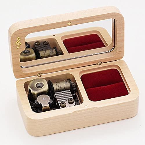 BAWAQAF caja de música caja de música para niñas caja de música para mujeres caja de madera sólida caja de joyería anillo caja de música para nuevo año Navidad boda y cumpleaños regalo