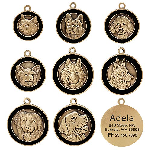 Didog Personalised Engraved Pet ID Tags with 8 Breeds 3D Effect - Customized Identity Dog Tag Cat ID Tags for Pet Collar- High-Relief Copper Dog Name Tags for Siberian Husky