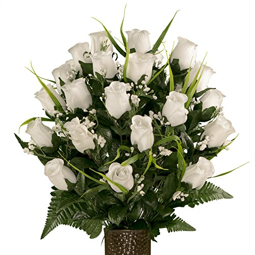 Sympathy Silks Artificial Cemetery Flowers - Realistic - Outdoor Grave Decorations - Non-Bleed Colors, and Easy Fit - White Roses with Lily Grass - with Flower Holder