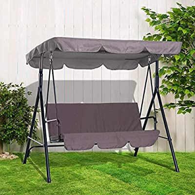 BARGAINSGALORE 3 Seat Outdoor Swing with Canopy Grey