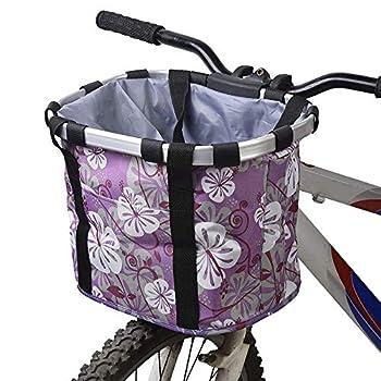 Amovible Panier de Vélo, Guidon de Vélo Avant Sac de Transport en Alliage d'aluminium, Pliant Sac avec Bretelle d'épaule pour Animal - Violet