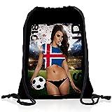 style3 WM 2018 Turnbeutel Rucksack Tasche Flagge WM EM Sport Beutel Festival Fahne Uni Schule, Land:Island